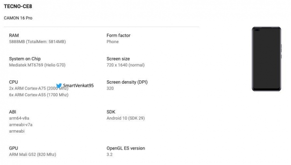 Tecno Camon 16 Pro: дизайн и подробности