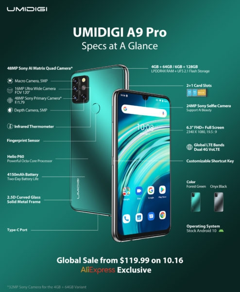 UMIDIGI А9 Pro — смартфон с термометром всего за $120