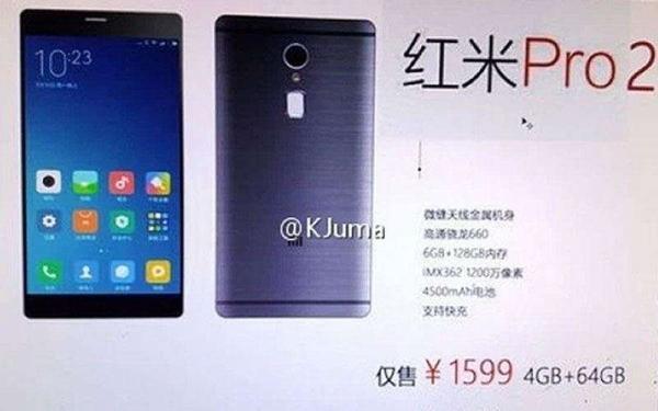 Xiaomi Redmi Pro 2 изображение показывает спецификации: 4500 мАч аккумулятор и 6 Гб оперативной памяти