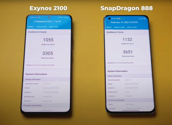 Snapdragon 888 против Exynos 2100. Битва процессоров