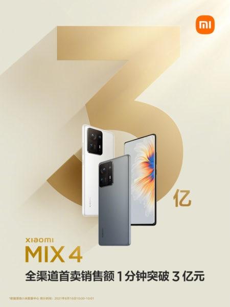 Впечатляющие первые продажи Xiaomi Mix 4 и Mi Pad 5